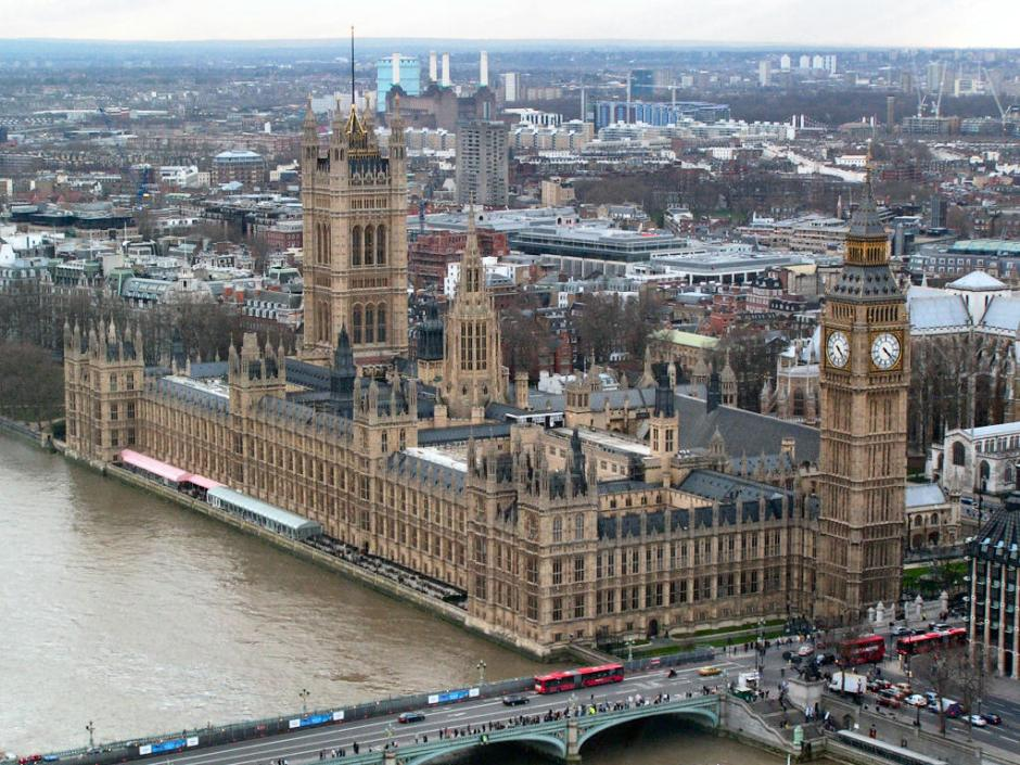 Photograph of Westminster Palace in London, 15 February 2005. By DaniKauf, via Wikimedia Commons.