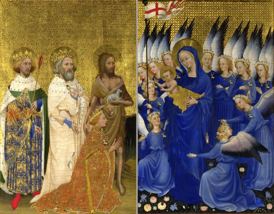 Anonymous, The Wilton Diptych (c 1395-9), egg tempera on panel, each panel 53 x 37 cm, The National Gallery, London. Wikimedia Commons.