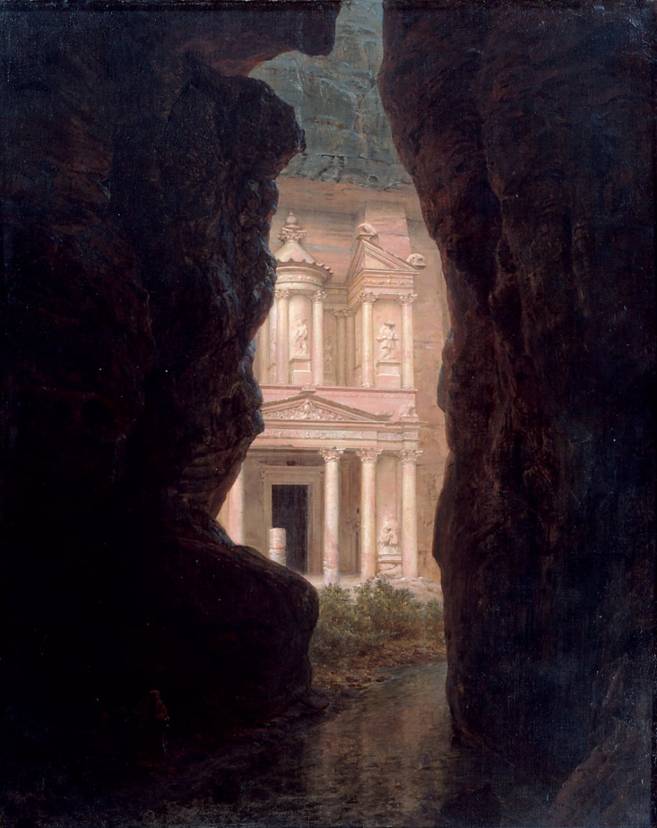 Frederic Edwin Church (1826-1900), El Khasné, Petra (1874), oil on canvas, 153.7 x 127.6 cm, Olana State Historic Site, Hudson, NY. Courtesy of Olana State Historic Site, New York State Office of Parks, Recreation, and Historic Preservation, via Wikimedia Commons.