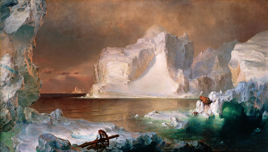Frederic Edwin Church (1826-1900), The Icebergs (1861), oil on canvas, 163.8 x 285.8 cm, Dallas Museum of Art, Dallas, TX. Wikimedia Commons.