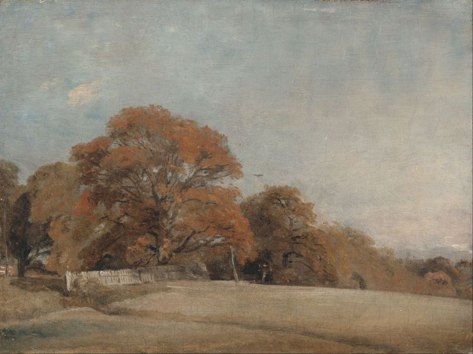 John Constable (1776–1837), An Autumnal Landscape at East Bergholt (1805-8), oil on canvas, 21.3 x 28.6 cm, Yale Center for British Art, New Haven, CT. Wikimedia Commons.