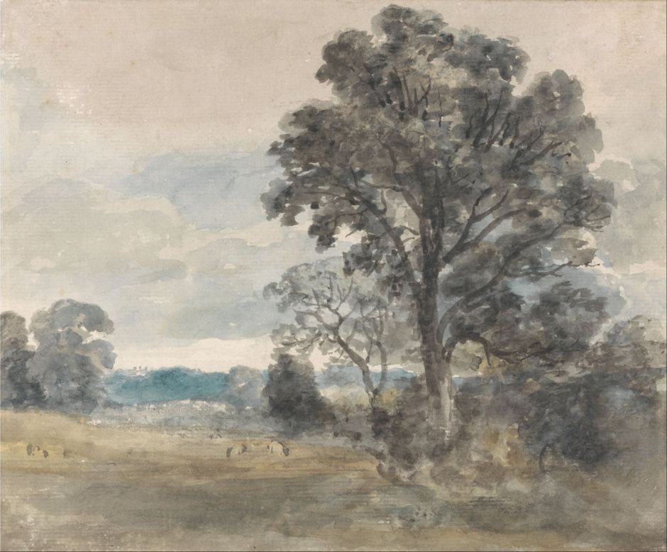 John Constable (1776–1837), Landscape at East Bergholt (c 1805), watercolour, 17.8 x 21.6 cm, Yale Center for British Art, New Haven, CT. Wikimedia Commons.