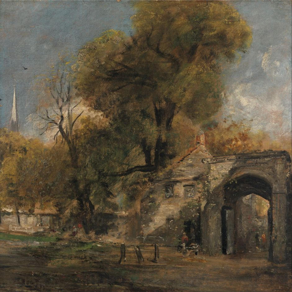 John Constable (1776–1837), Harnham Gate, Salisbury (1820-1), oil on canvas, 50.8 x 50.8 cm, Yale Center for British Art, New Haven, CT. Wikimedia Commons.