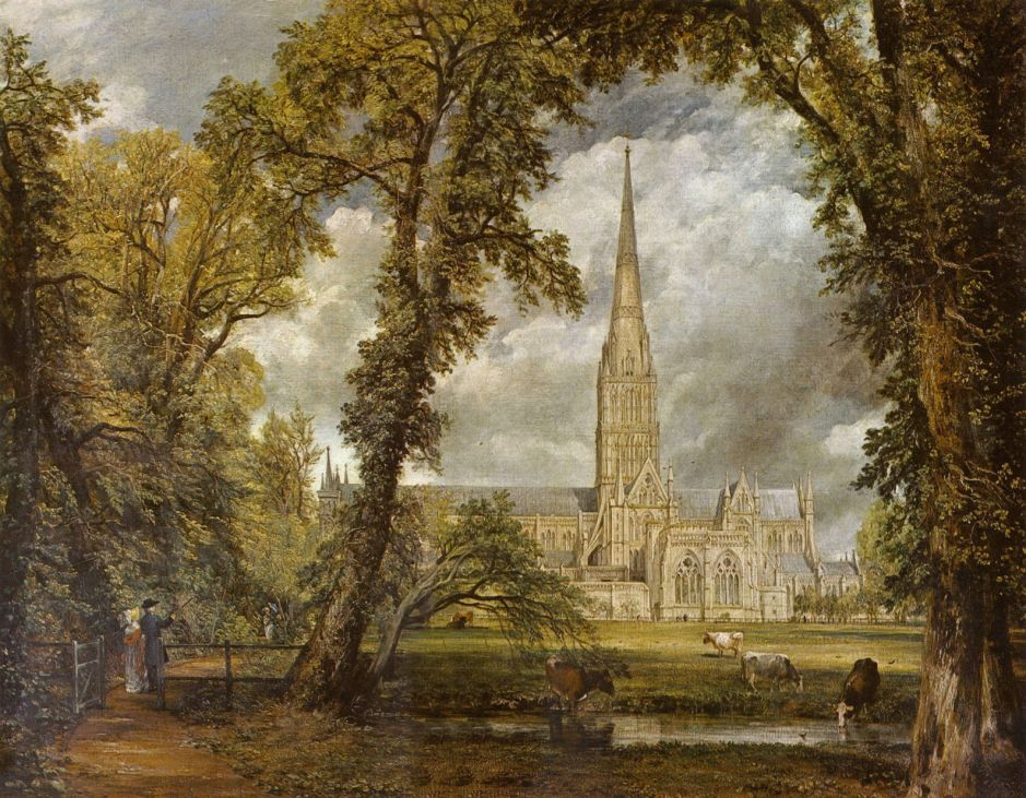 John Constable (1776–1837), Salisbury Cathedral from the Bishop's Garden (1823), oil on canvas, 87.6 × 111.8 cm, V&A, London. Wikimedia Commons.