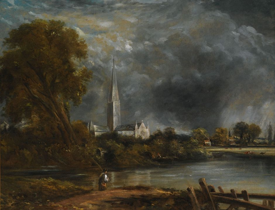 John Constable (1776–1837), Study for Salisbury Cathedral from the Meadows (1830-1), oil on canvas, 71 × 90 cm, Private collection. Wikimedia Commons.