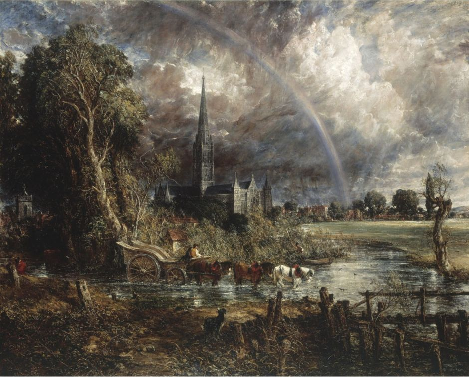John Constable (1776–1837), Salisbury Cathedral from the Meadows (1831), oil on canvas, 151.8 × 189.9 cm, The Tate Gallery, London. Wikimedia Commons.