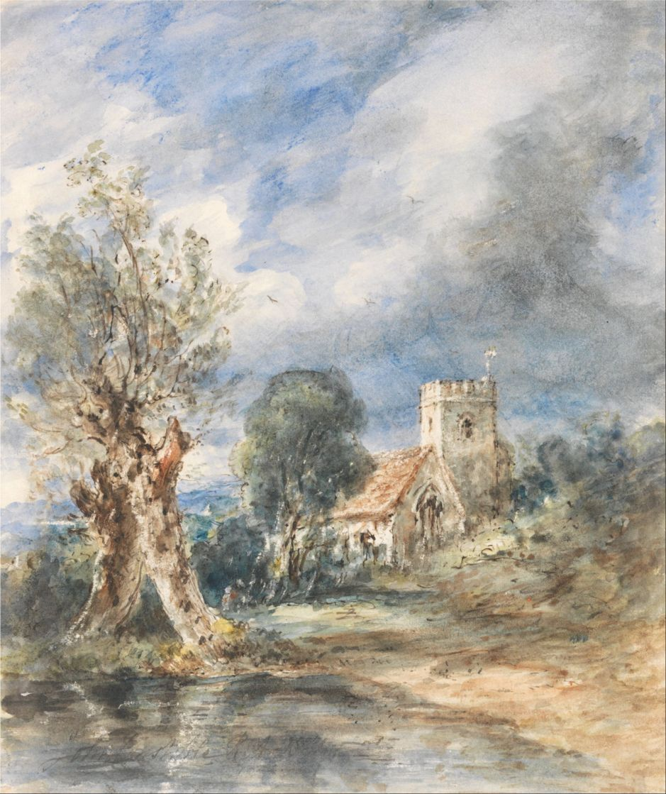 John Constable (1776–1837), Stoke Poges Church (1834), watercolor with pen and dark brown ink and scratching out on medium, smooth, cream wove paper, 21.6 x 18.1 cm, Yale Center for British Art, New Haven, CT. Wikimedia Commons.