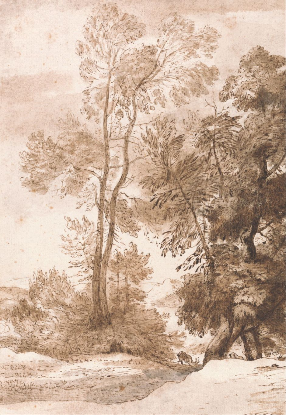 John Constable (1776–1837), Trees and Deer (1825), pen and brown ink with brown and gray wash on medium, rough, cream laid paper, 28.9 x 20 cm, Yale Center for British Art, New Haven, CT. Wikimedia Commons.