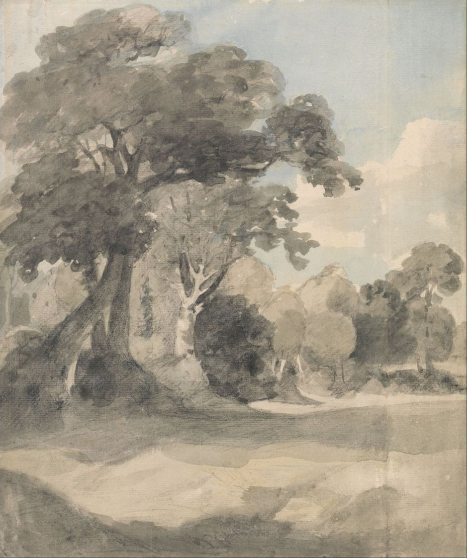 John Constable (1776–1837), Trees in a Meadow (c 1805), graphite, watercolor, black chalk on medium, slightly textured, cream wove paper, 29.5 x 25.1 cm, Yale Center for British Art, New Haven, CT. Wikimedia Commons.