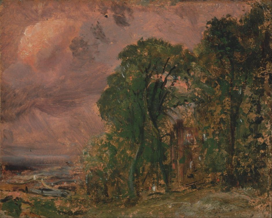 John Constable (1776–1837), A View at Hampstead with Stormy Weather (c 1830), oil on paper on panel, 15.6 x 19.4 cm, Yale Center for British Art, New Haven, CT. Wikimedia Commons.