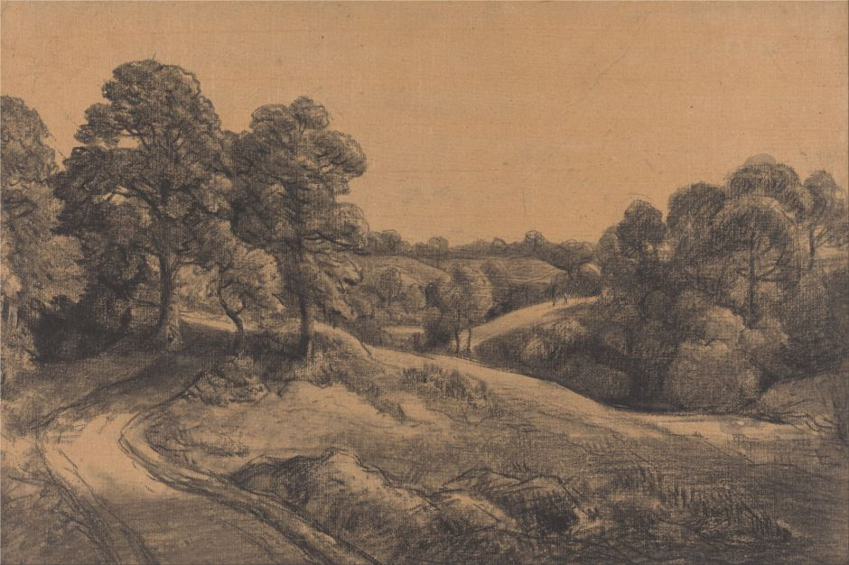John Constable (1776–1837), Wooded Slope with a Receding Road (c 1850), black chalk and white chalk with stumping on Medium, rough, beige laid paper, 34.6 x 51.1 cm, Yale Center for British Art, New Haven, CT. Wikimedia Commons.