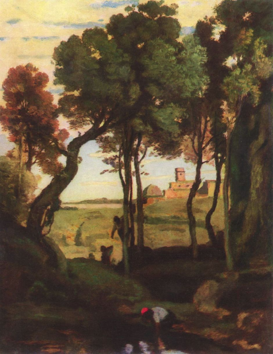 Jean-Baptiste-Camille Corot (1796–1875), Castel Gandolfo (c 1826), oil on canvas, 36.3 x 28.3 cm, Museum of Fine Arts, Budapest. Wikimedia Commons.