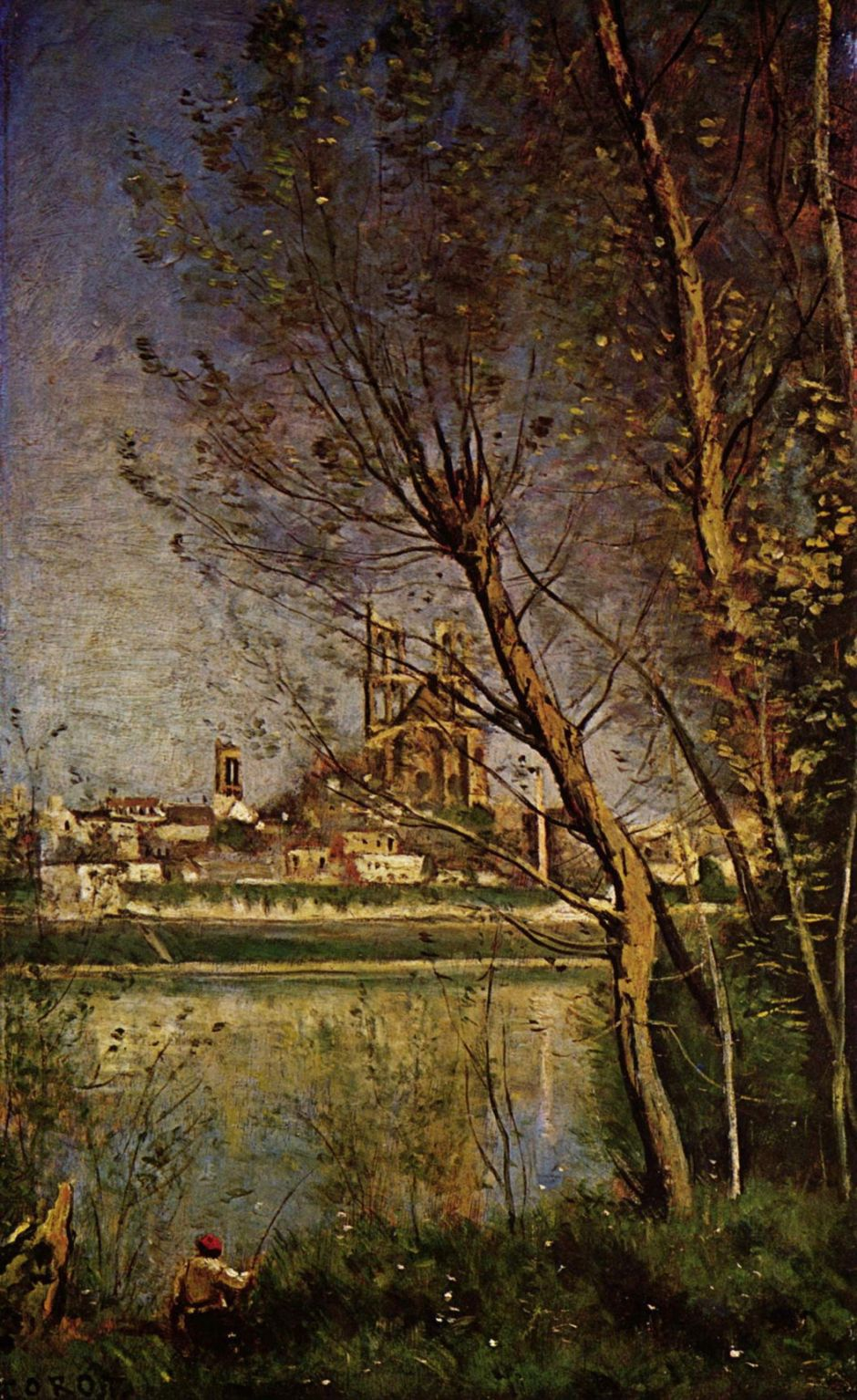 Jean-Baptiste-Camille Corot (1796–1875), Morning, or Cathedral of Mantes, with a Fisherman (c 1865), oil on panel, 52.1 x 32.6 cm, Museum of Fine Arts, Rheims, France. Wikimedia Commons.