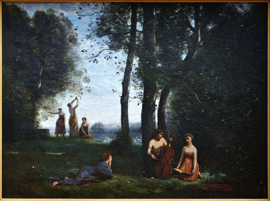 Jean-Baptiste-Camille Corot (1796–1875), Le Concert Champêtre (Woodland Musicians) (1857), oil on canvas, 130 x 98 cm, Musée Condé, Chantilly, France. Wikimedia Commons.
