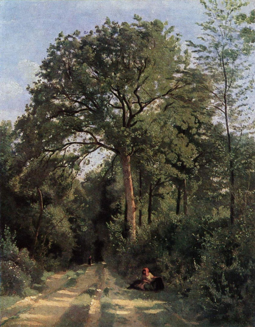 Jean-Baptiste-Camille Corot (1796–1875), Ville-d'Avray: Entrance to the Wood (c 1825), oil on canvas, 46 x 35 cm, Scottish National Gallery, Edinburgh. Wikimedia Commons.