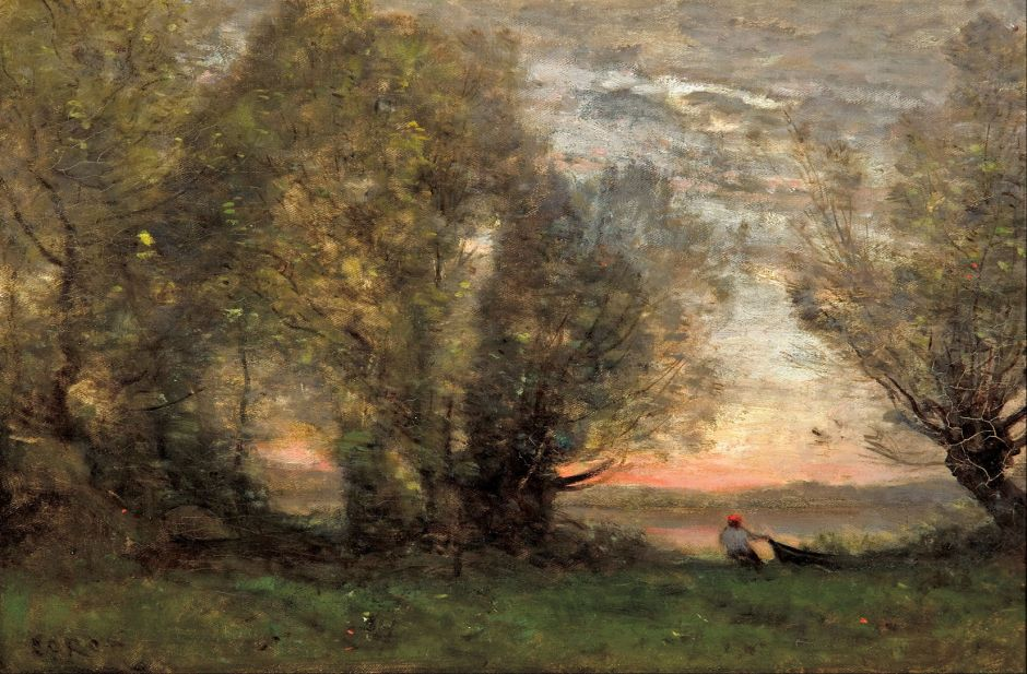 Jean-Baptiste-Camille Corot (1796–1875), The fisherman: evening effect (c 1865-70), oil on canvas, 27.7 x 41.4 cm, Art Gallery of South Australia, Adelaide. Wikimedia Commons.