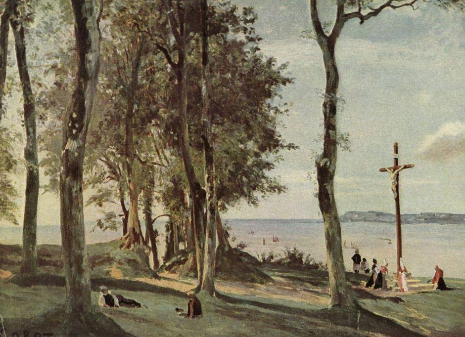 Jean-Baptiste-Camille Corot (1796–1875), Honfleur: Calvary (c 1830), oil on panel, 29.8 x 41 cm, Metropolitan Museum of Art, New York, NY. Wikimedia Commons.