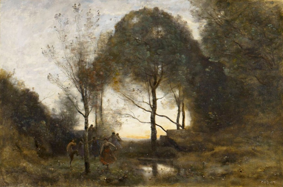 Jean-Baptiste-Camille Corot (1796–1875), Nymphs and Fauns (before 1870), oil on canvas, 54 x 90.2 cm, Birmingham Museum of Art, Birmingham, UK. Photo by Sean Pathasema, via Wikimedia Commons.