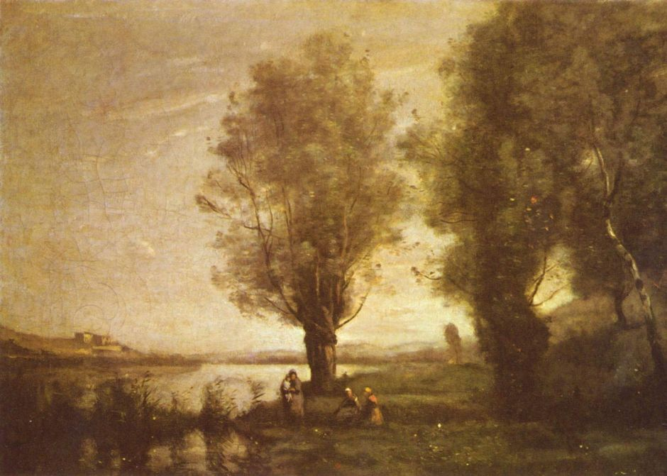 Jean-Baptiste-Camille Corot (1796–1875), Rest under the Willows (1865-70), oil on canvas, 43.5 × 60.5 cm, Musée des Ursulines, Mâcon, France. Wikimedia Commons.