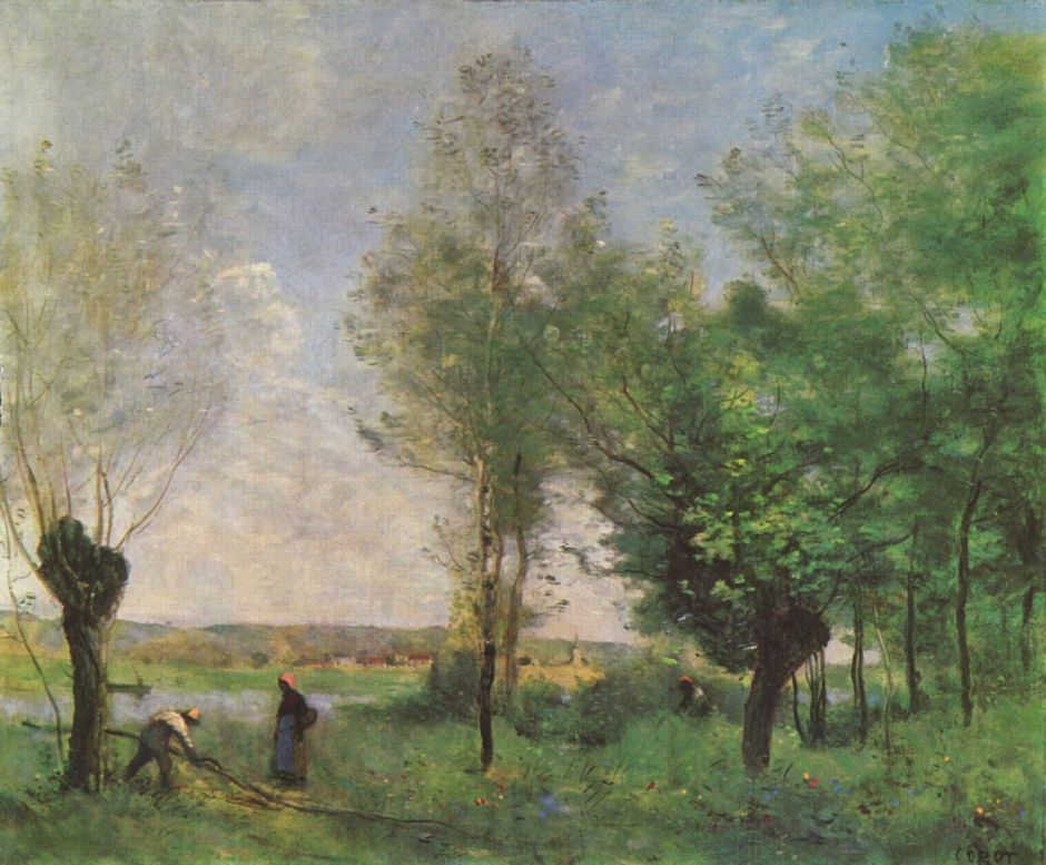 Jean-Baptiste-Camille Corot (1796–1875), Souvenir de Coubron (1872), oil on canvas, 46 x 55.3 cm, Museum of Fine Arts, Budapest. Wikimedia Commons.