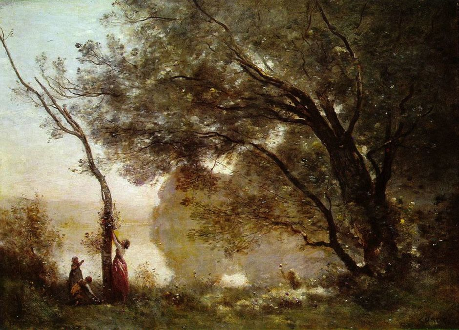Jean-Baptiste-Camille Corot (1796–1875), Souvenir de Mortefontaine (1864), oil on canvas, 65 x 89 cm, Musée du Louvre, Paris. Wikimedia Commons.