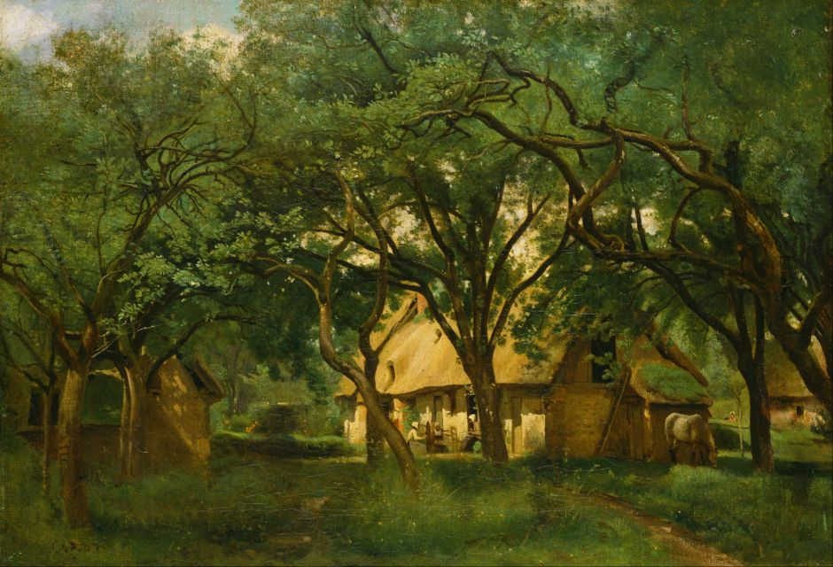 Jean-Baptiste-Camille Corot (1796–1875), The Toutain Farm, Honfleur (c 1845), oil on canvas, 44.4 × 63.8 cm, Bridgestone Museum of Art, Tokyo. Wikimedia Commons.