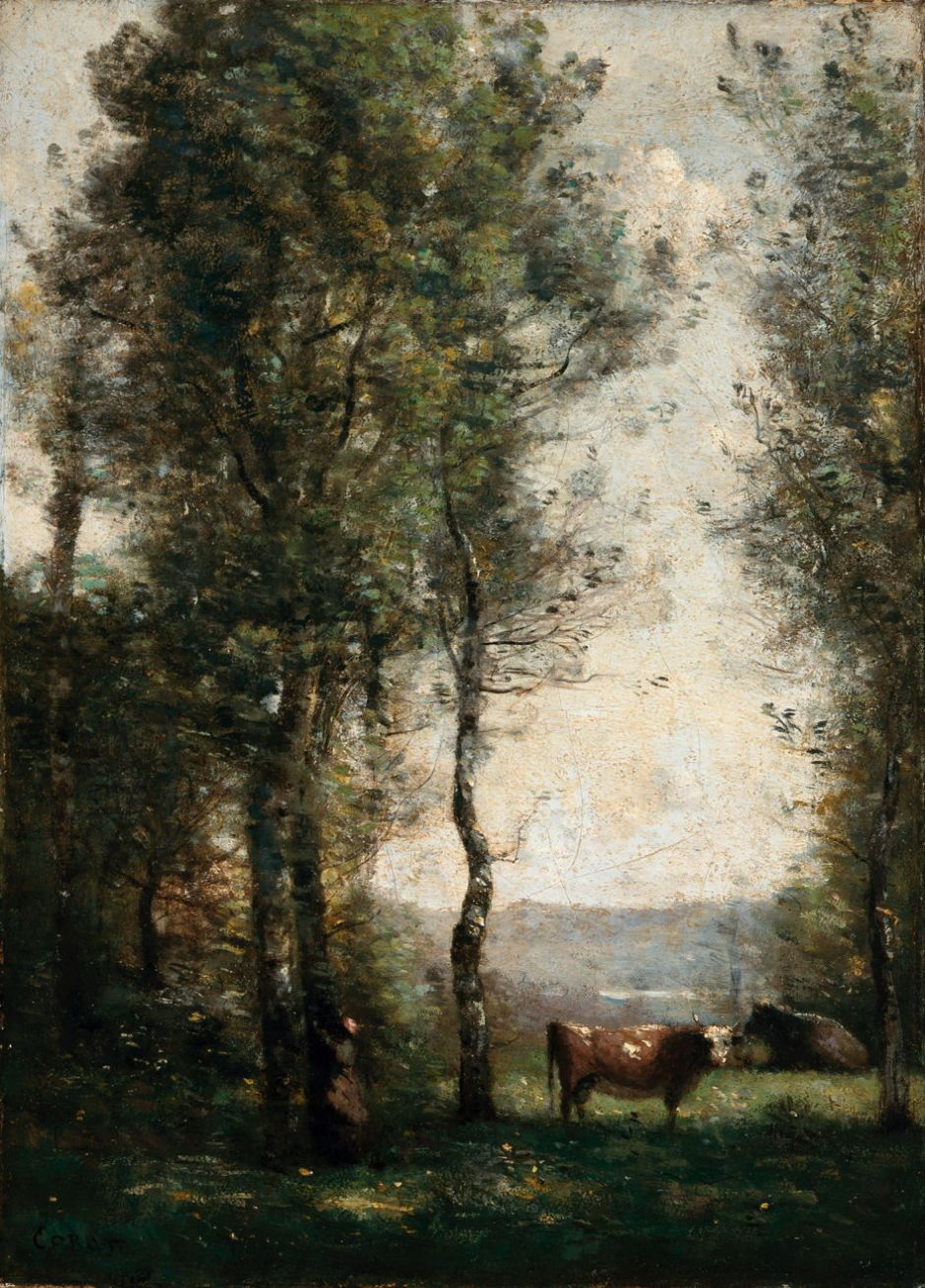 Jean-Baptiste-Camille Corot (1796–1875), Wooded Landscape with Cows in a Clearing (c 1855), oil on canvas, 41.9 × 29.8 cm, Los Angeles County Museum of Art, Los Angeles, CA. Courtesy of Los Angeles County Museum of Art, via Wikimedia Commons.
