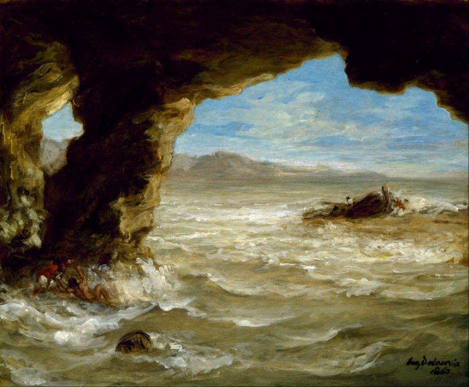 Eugène Delacroix (1798–1863), Shipwreck off a Coast (1862), oil on canvas, 38.1 x 45.1 cm, Museum of Fine Arts, Houston, TX. Wikimedia Commons.
