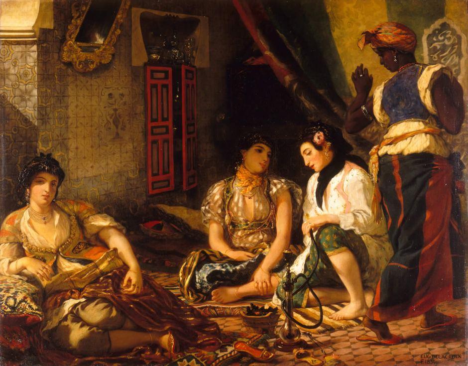 Eugène Delacroix (1798–1863), Women of Algiers in their Apartment (1834), oil on canvas, 180 x 229 cm, Musée du Louvre, Paris. Wikimedia Commons.