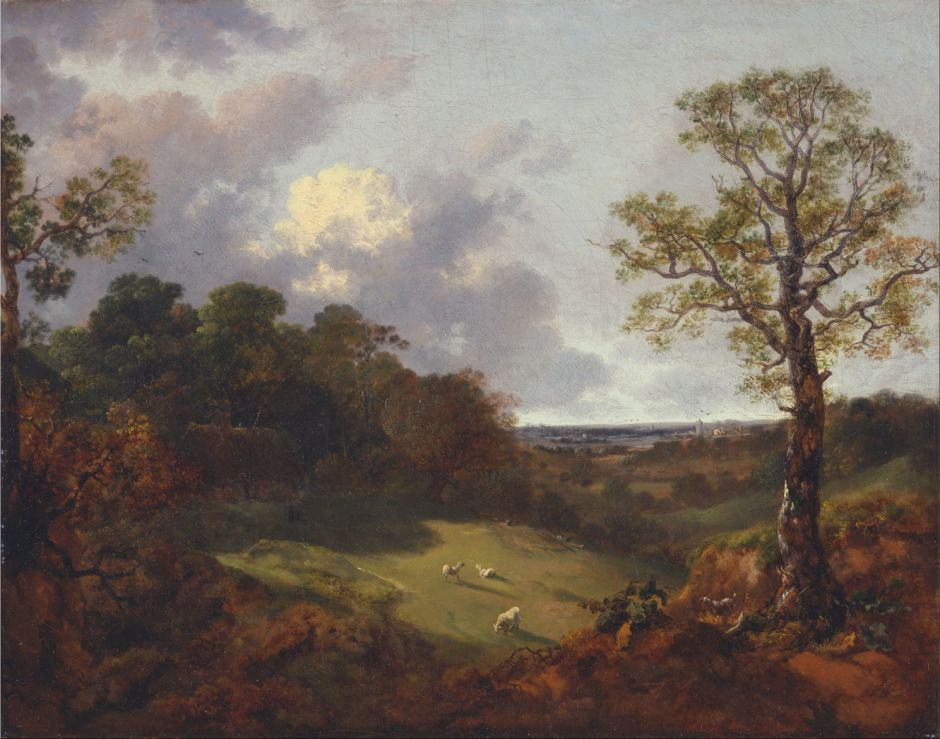 Thomas Gainsborough (1727–1788), Wooded Landscape with a Cottage and Shepherd (1748-50), oil on canvas, 43.2 x 54.3 cm, Yale Center for British Art, New Haven, CT. Wikimedia Commons.