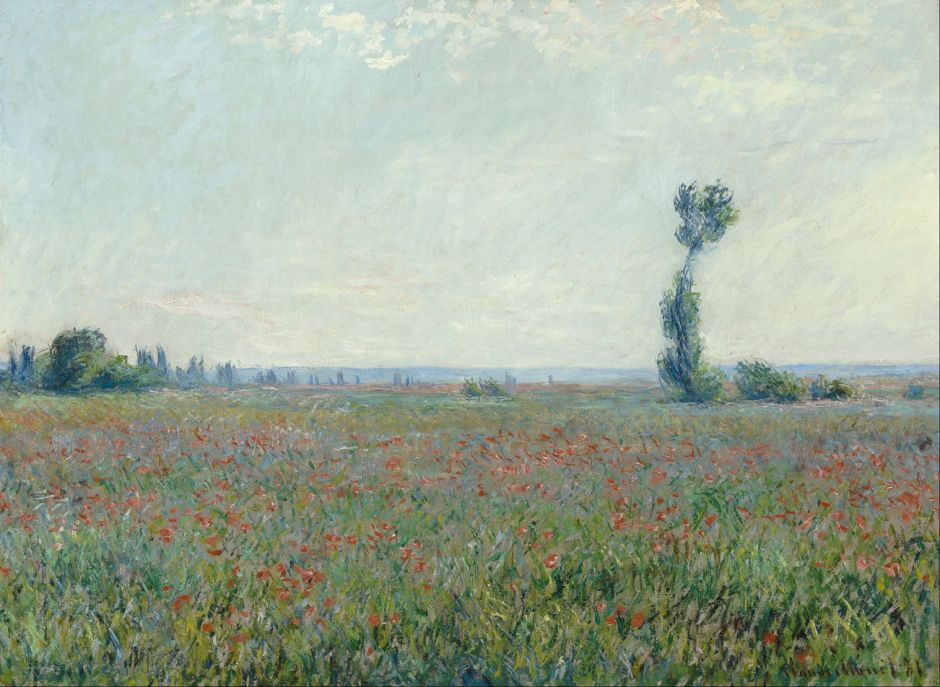 Claude Monet (1840–1926), Champ de coquelicots (Poppy Field) (1881), oil on canvas, 58 x 79 cm, Museum Boijmans Van Beuningen, Rotterdam, The Netherlands. Wikimedia Commons. The field stereotype is green. Should we ignore the poppies, or average them out into the green?