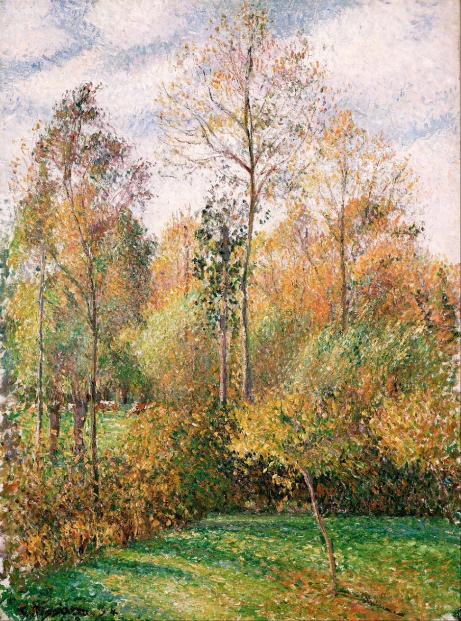 Camille Pissarro (1830–1903), Automne, Peupliers, Éragny (Autumn, Poplars, Éragny) (1894), oil on canvas, 102.9 x 81.9 cm, Denver Art Museum, Denver, CO. Wikimedia Commons.