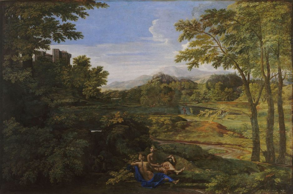 Nicolas Poussin (1594–1665), Paysage avec deux nymphes et un serpent (Landscape with Two Nymphs and a Snake) (c 1659), oil on canvas, 118 x 179 cm, Musée Condé, Chantilly, Oise, France. Wikimedia Commons.