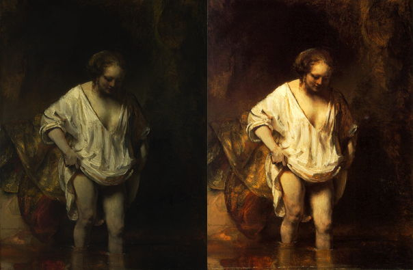 Rembrandt Harmenszoon van Rijn, A Woman bathing in a Stream (1654), oil on panel, 61.8 x 47 cm, National Gallery, London. Left: National Gallery version, courtesy of the National Gallery; right Wikimedia Commons version.