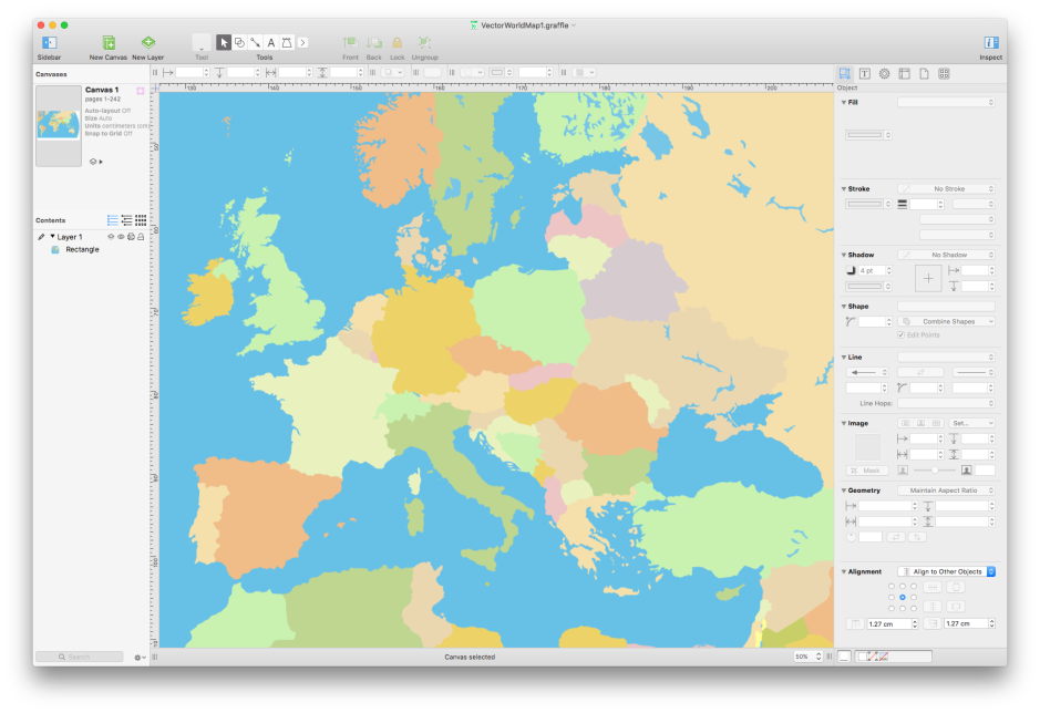 OmniGraffle is a very versatile diagramming tool, which can also do sophisticated mapping.