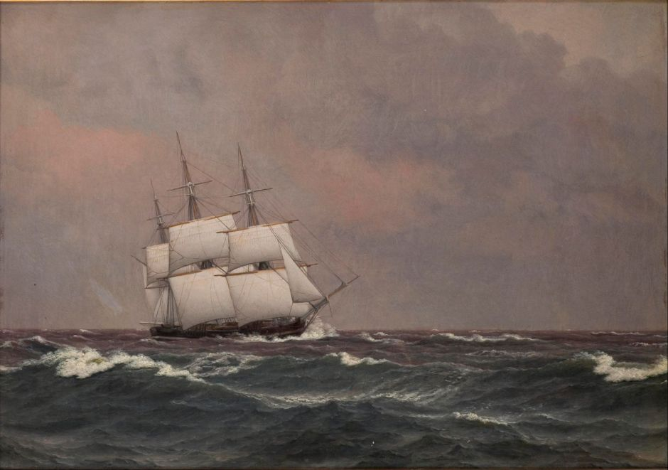 Christoffer Wilhelm Eckersberg (1783-1853), The Corvette Najaden in Rough Seas (1833), oil on canvas, 24.5 x 34.8 cm, The Hirschsprung Collection. Wikimedia Commons.