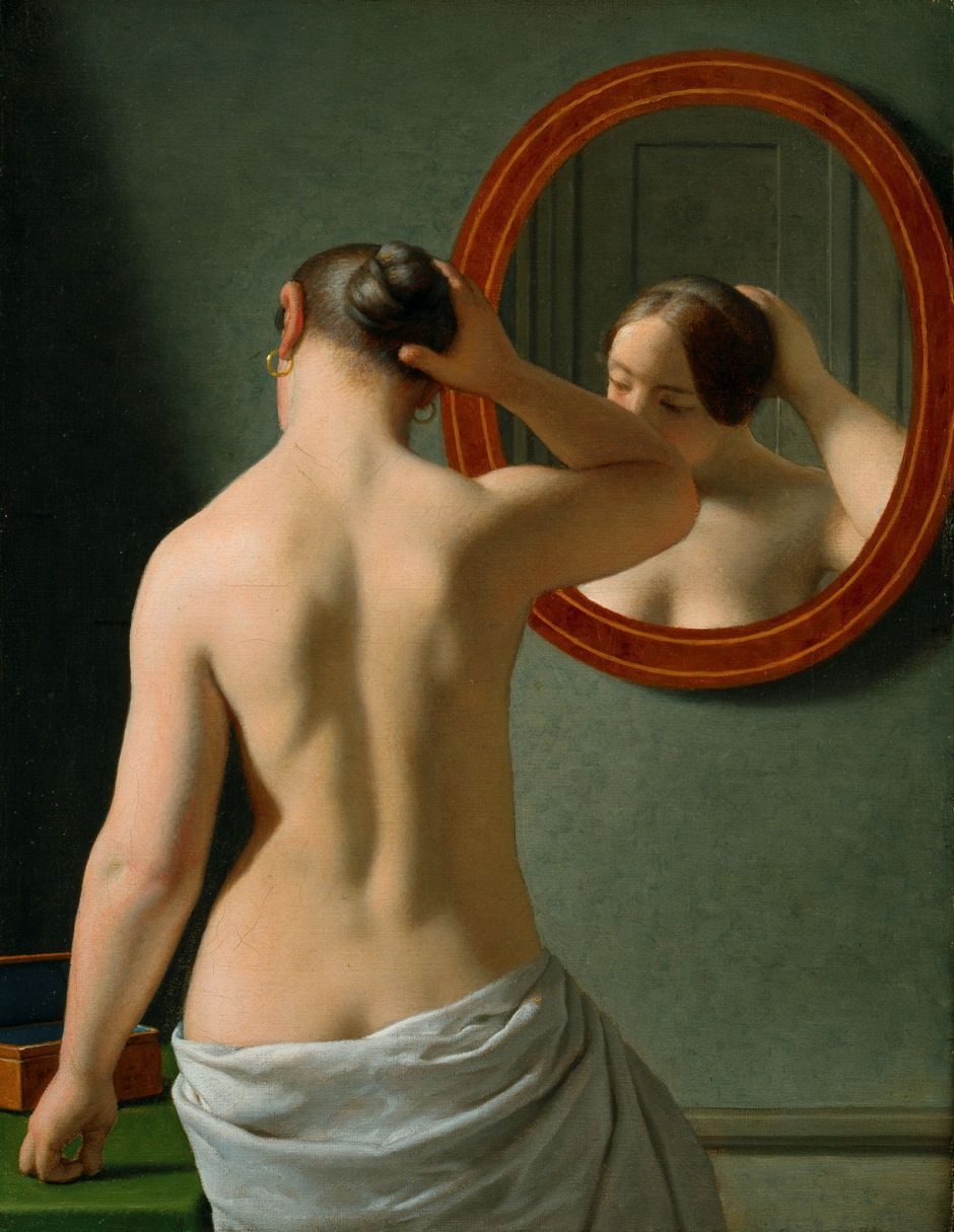 Christoffer Wilhelm Eckersberg (1783-1853), Woman Standing in Front of a Mirror (1841), oil on canvas, 33.5 x 26 cm, The Hirschsprung Collection. Wikimedia Commons.