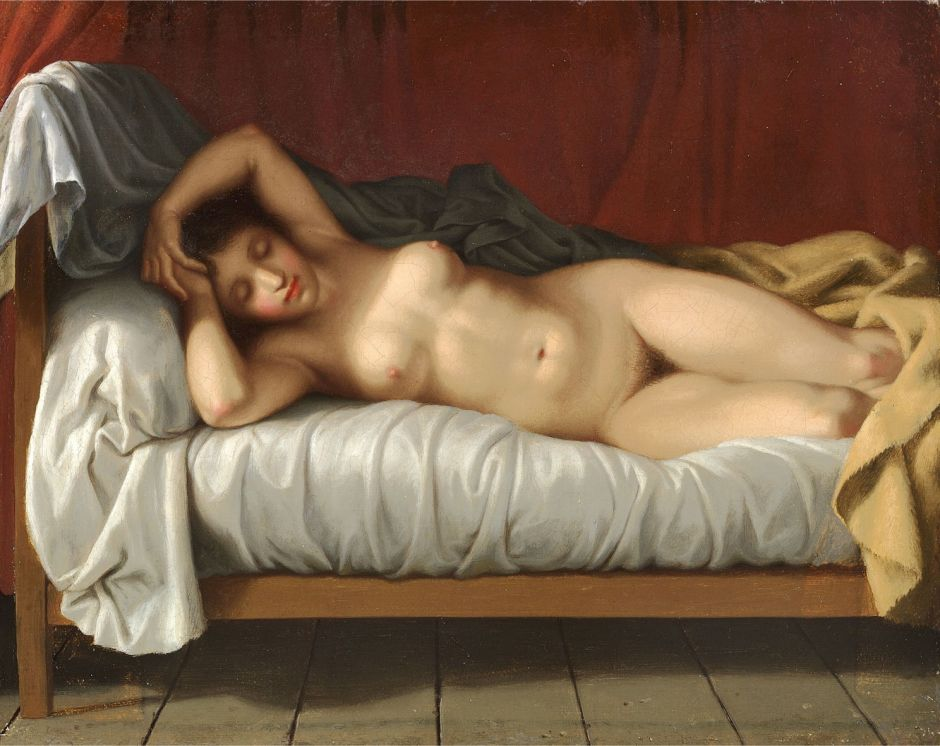 Christoffer Wilhelm Eckersberg (1783-1853), Nude Reclining on a Bed (1810-3), oil on canvas, 22 x 27 cm, Private collection. Wikimedia Commons.