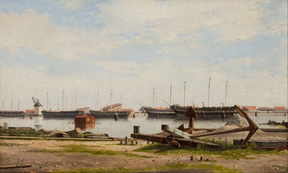 Christoffer Wilhelm Eckersberg (1783-1853), View of the Wharf at Nyholm with the Crane and Some Warships (1826), oil on canvas, 19.6 x 32.4 cm, The Hirschsprung Collection. Wikimedia Commons.