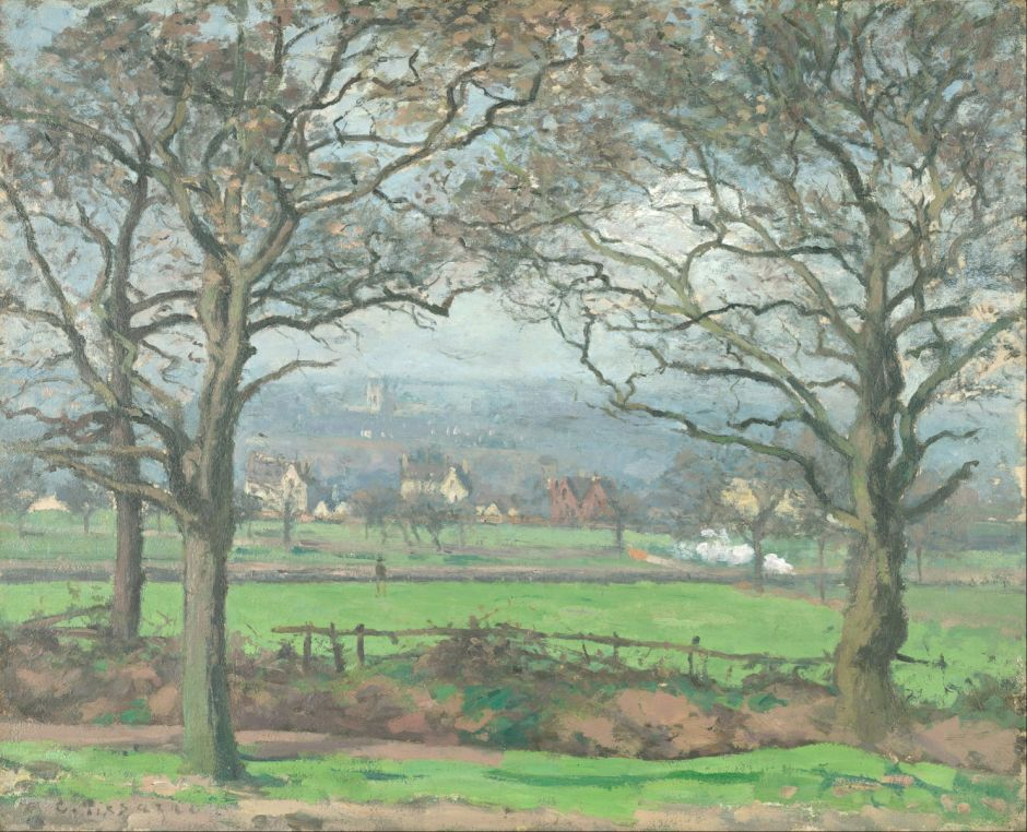 Camille Pissarro (1830-1903), View of Alleyn Park, West Dulwich (c 1871), oil on canvas, 43.5 x 53.5 cm, Kimbell Art Museum, Fort Worth, TX. Wikimedia Commons.