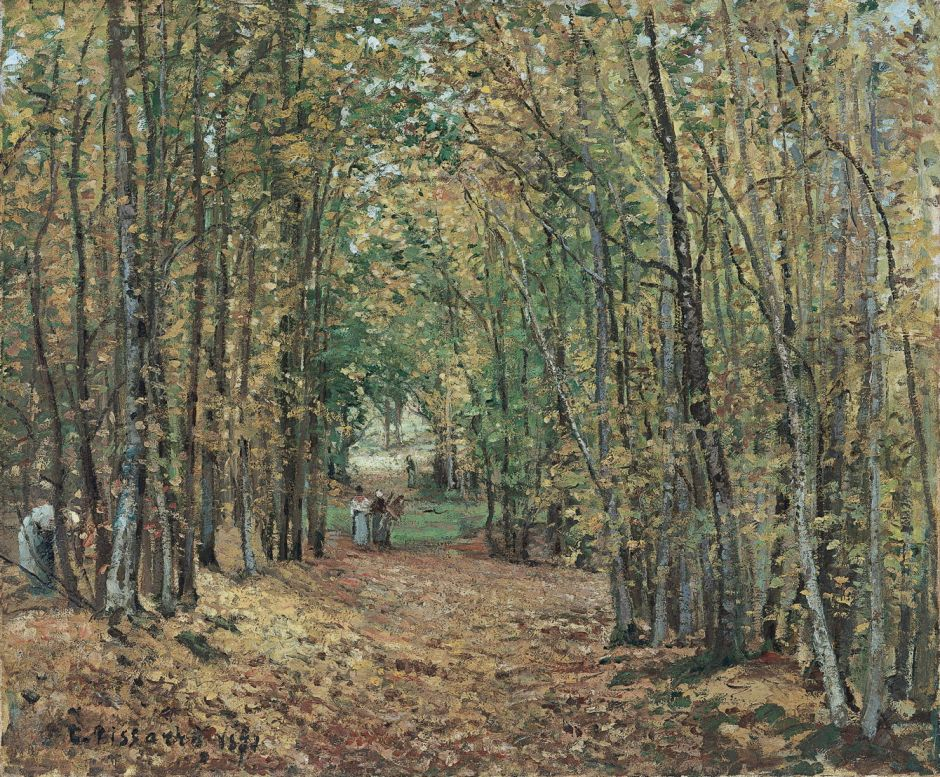 Camille Pissarro (1830-1903), Avenue in the Parc de Marly (c 1871), oil on canvas, 45 x 55 cm, Museo Thyssen-Bornemisza, Madrid. Wikimedia Commons.