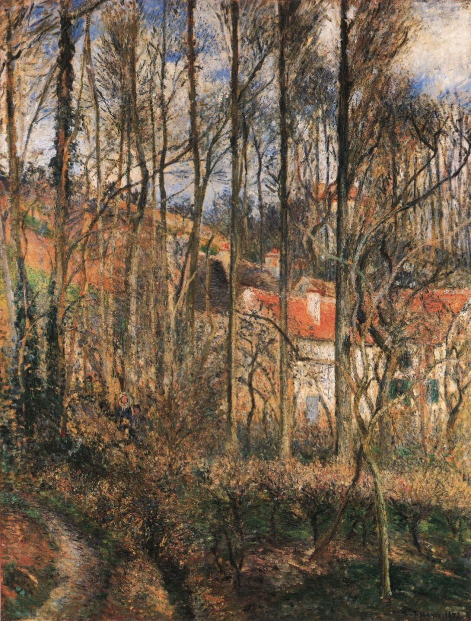 Camille Pissarro (1830-1903), Côte des Bœufs, Pontoise (1877), oil on canvas, 114.9 x 87.6 cm, The National Gallery, London. Wikimedia Commons.