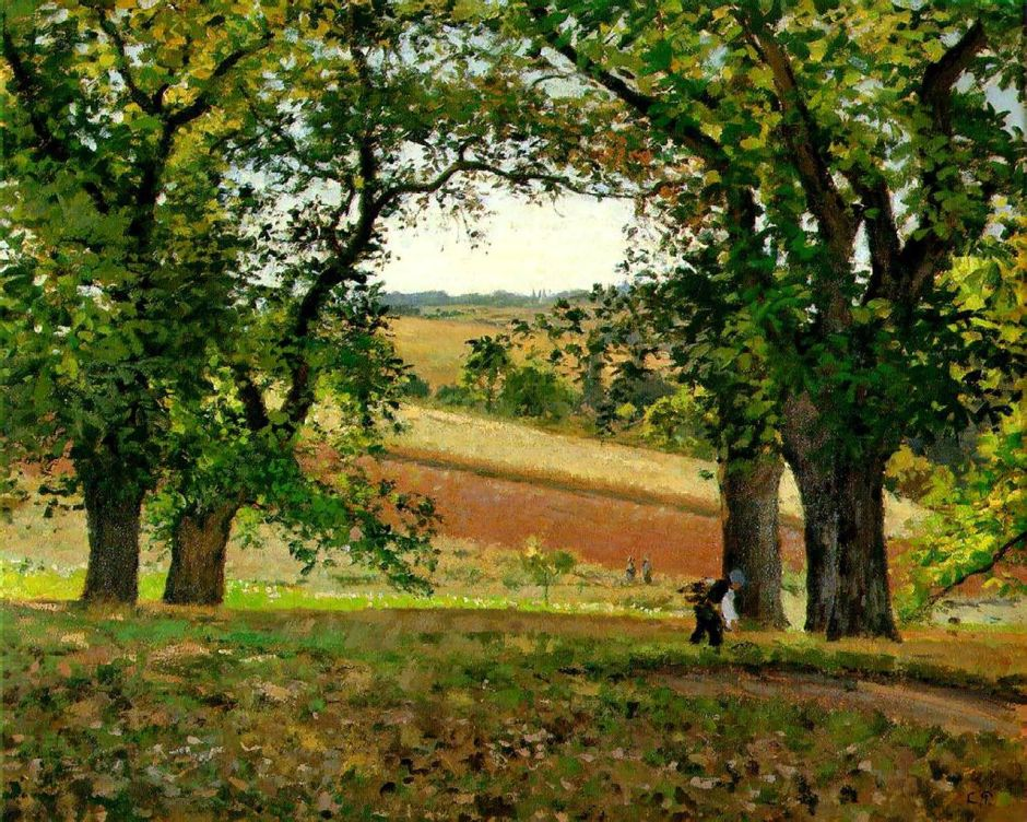 Camille Pissarro (1830-1903), Chestnut Trees at Osny (c 1873), oil on canvas, 65 x 81 cm, Private collection. Wikimedia Commons.