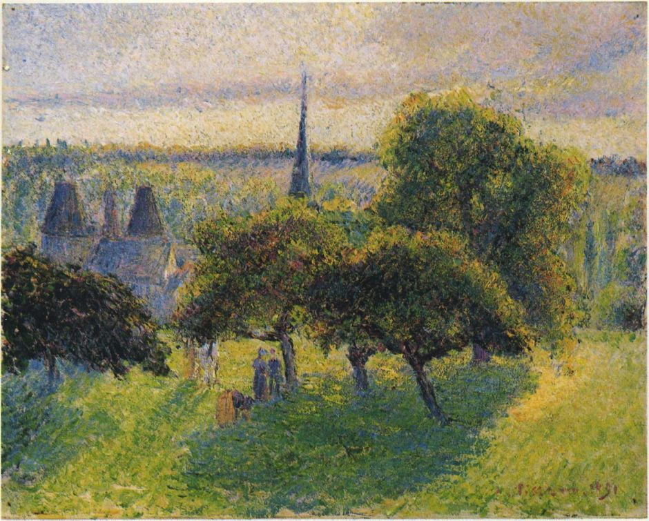 Camille Pissarro (1830-1903), The Steeple and Manor-House at Éragny, Sunset (1891), oil on canvas, 32.5 x 41 cm, Private collection. Wikimedia Commons.