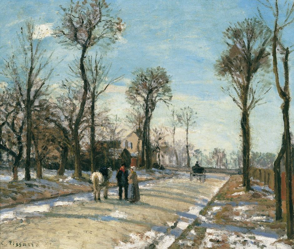 Camille Pissarro (1830-1903), Route de Versailles, Louveciennes, Winter Sun and Snow (c 1870), oil on canvas, 46 x 55.3 cm, Museo Thyssen-Bornemisza, Madrid. Wikimedia Commons.