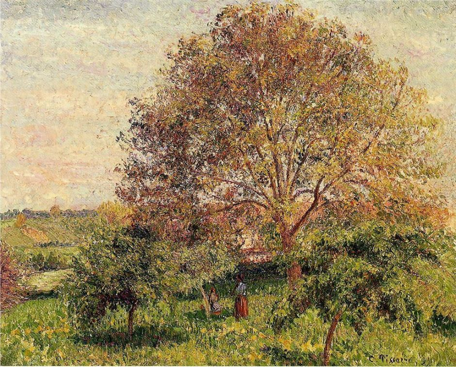 Camille Pissarro (1830-1903), The Big Walnut Tree in Spring, Éragny (1894), oil on canvas, 60 x 73 cm, Private collection. Wikimedia Commons.