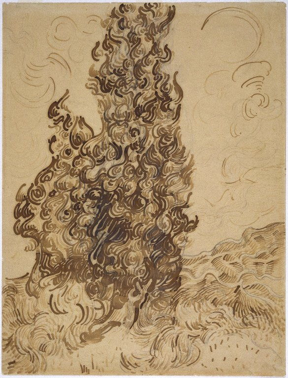 Vincent van Gogh (1853–1890), Cypresses (1889), Reed pen, graphite, quill, and brown and black ink on wove Latune et Cie Balcons paper, 61.9 × 47.3 cm, Brooklyn Museum, New York, NY. Photo courtesy of Brooklyn Museum, via Wikimedia Commons.
