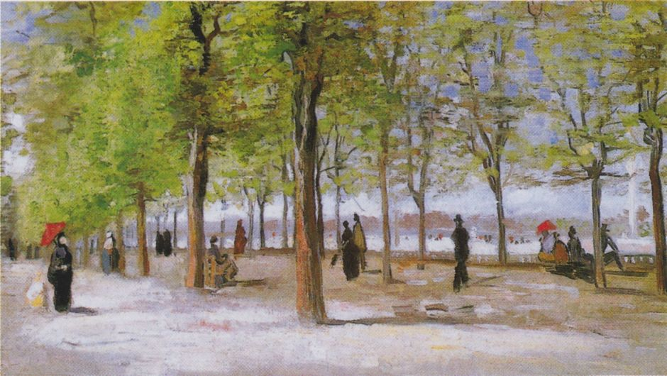Vincent van Gogh (1853–1890), Lane in the Jardin du Luxembourg (1886), oil on canvas, 27.1 × 46.1 cm, Clark Art Institute, Williamstown, MA. Wikimedia Commons.