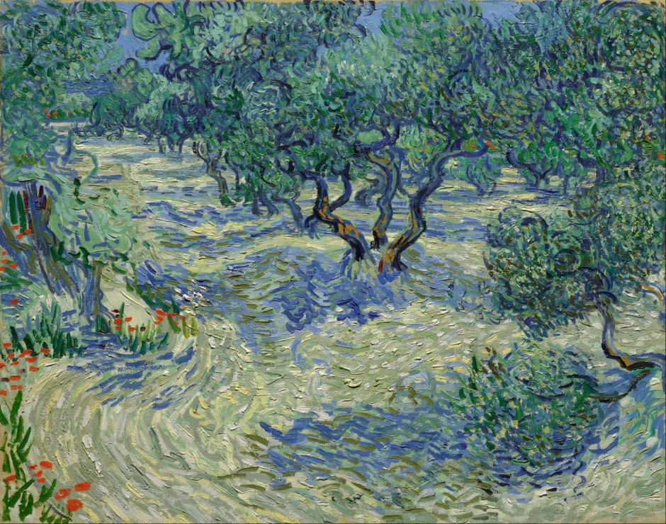 Vincent van Gogh (1853–1890), Olive Grove (1889), oil on canvas, 73.03 × 92.08 cm, Nelson-Atkins Museum of Art, Kansas City, MO. Wikimedia Commons.