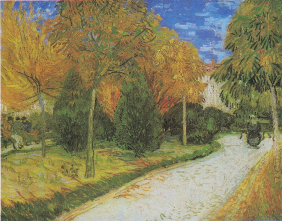 Vincent van Gogh (1853–1890), Path in the Park at Arles (1888), oil on canvas, 72 x 93 cm, Private collection. Wikimedia Commons.